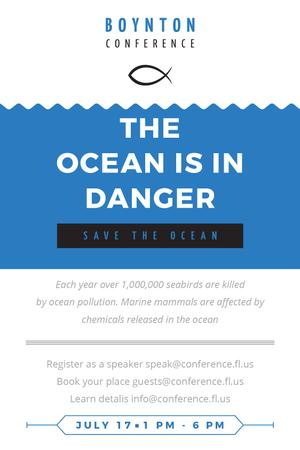 Ecology Conference Invitation with blue Sea Waves Tumblr – шаблон для дизайна