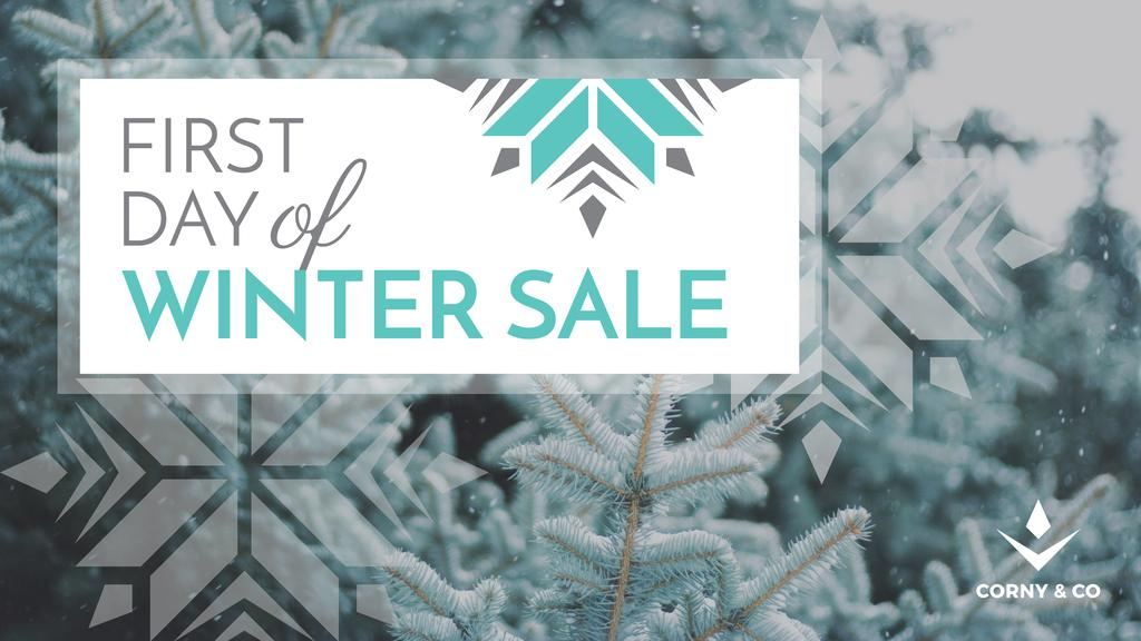 Winter Sale Announcement Tree Covered in Snow | Youtube Channel Art — Создать дизайн