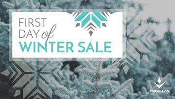 Winter Sale Announcement Tree Covered in Snow | Youtube Channel Art