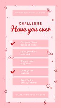 Have You Ever checkbox Challenge in pink