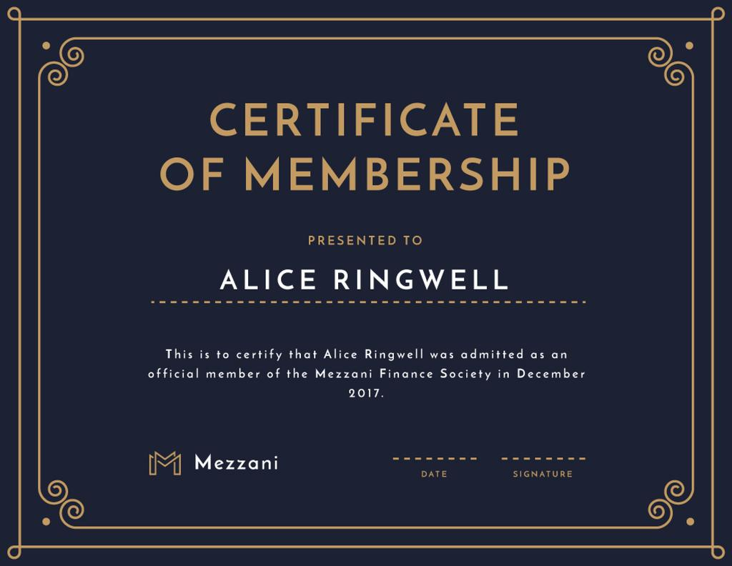 Finance Society Membership confirmation in blue — Create a Design