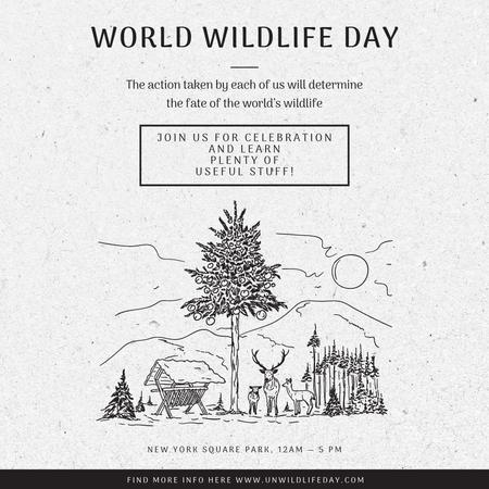 World Wildlife Day Event Announcement Nature Drawing Instagram AD – шаблон для дизайну
