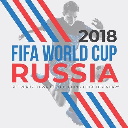 World Cup Match announcement with Man playing football Instagram AD Modelo de Design