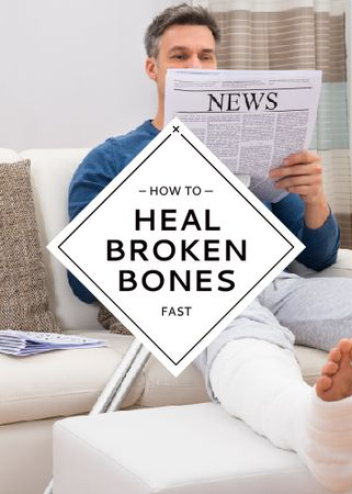Template di design Man with Broken Leg reading Newspaper Flayer
