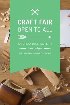 Szablon projektu Craft Fair Announcement with Wooden Toy and Tools Pinterest