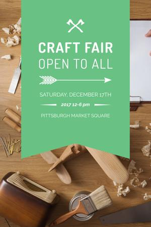 Craft Fair Announcement with Wooden Toy and Tools Pinterest Modelo de Design