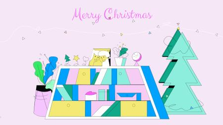 Template di design Girl with Christmas gift Full HD video