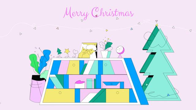 Modèle de visuel Girl with Christmas gift - Full HD video