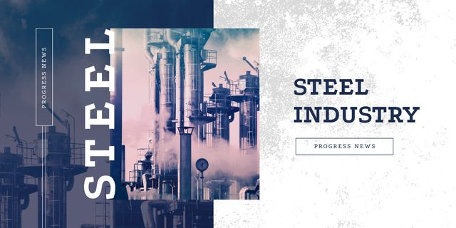 Thick smoke from industrial chimney Image Design Template