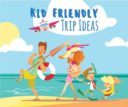 Ontwerpsjabloon van Facebook van Family with kids travelling