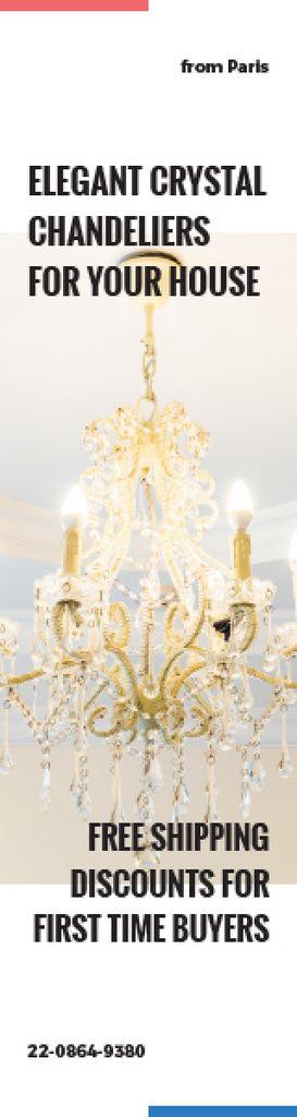Elegant Crystal Chandelier Ad in White — Modelo de projeto