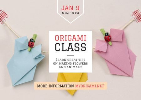 Plantilla de diseño de Origami Classes Invitation Paper Garland Postcard