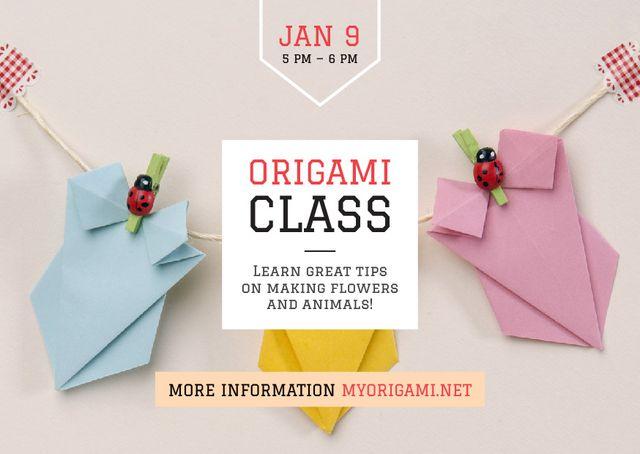Origami Classes Invitation Paper Garland Postcard Tasarım Şablonu