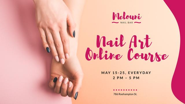 Nail Art Online Course Ad with Tender Female Hands FB event cover – шаблон для дизайну