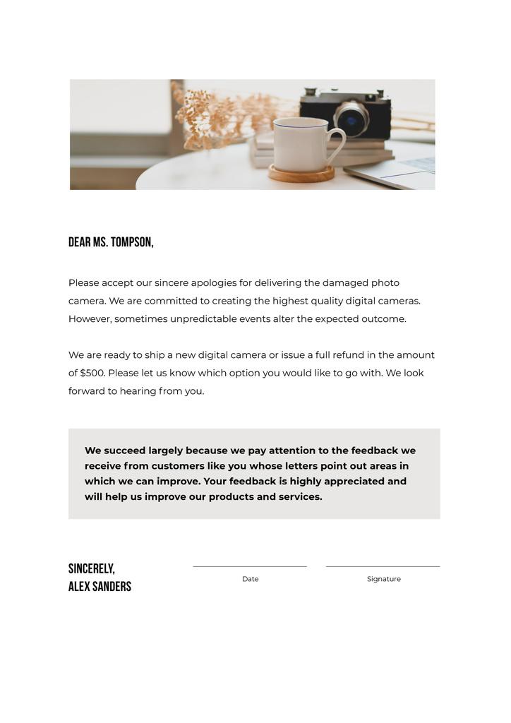 Camera Store customers support response — Crear un diseño