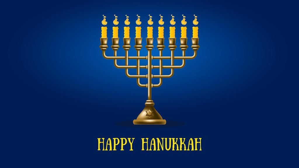 Happy Hanukkah Menorah on Blue — Modelo de projeto