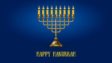 Happy Hanukkah Menorah on Blue | Full Hd Video Template