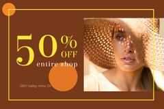 Clothes Store Ad with Attractive Woman in Sunhat