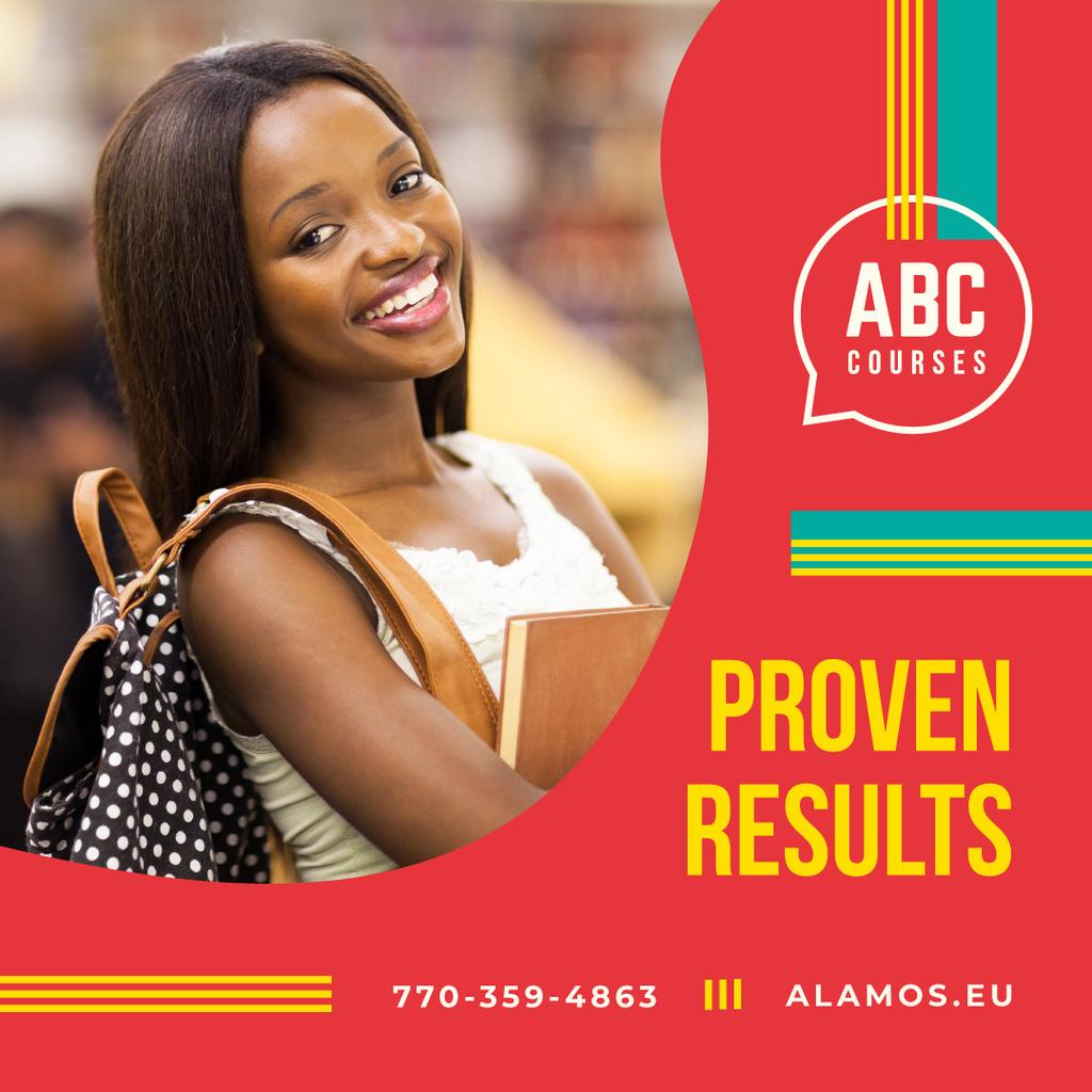 Education courses with Confident young girl — Modelo de projeto