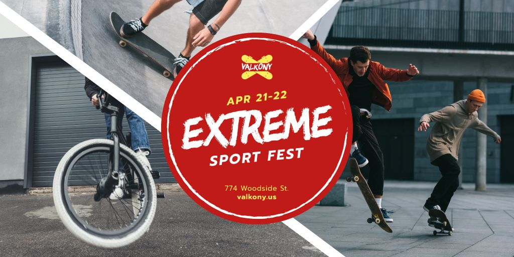 Extreme Sports Fest People Riding in Skate Park — Modelo de projeto