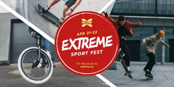 Extreme Sports Fest People Riding in Skate Park | Twitter Post Template