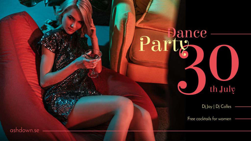 Night Party Invitation Girl in Shiny Dress FB event cover Modelo de Design