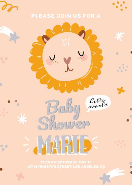 Plantilla de diseño de Baby Shower party with cute animal Invitation