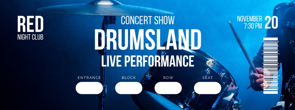 Concert Show with Musician playing Drums — Crear un diseño