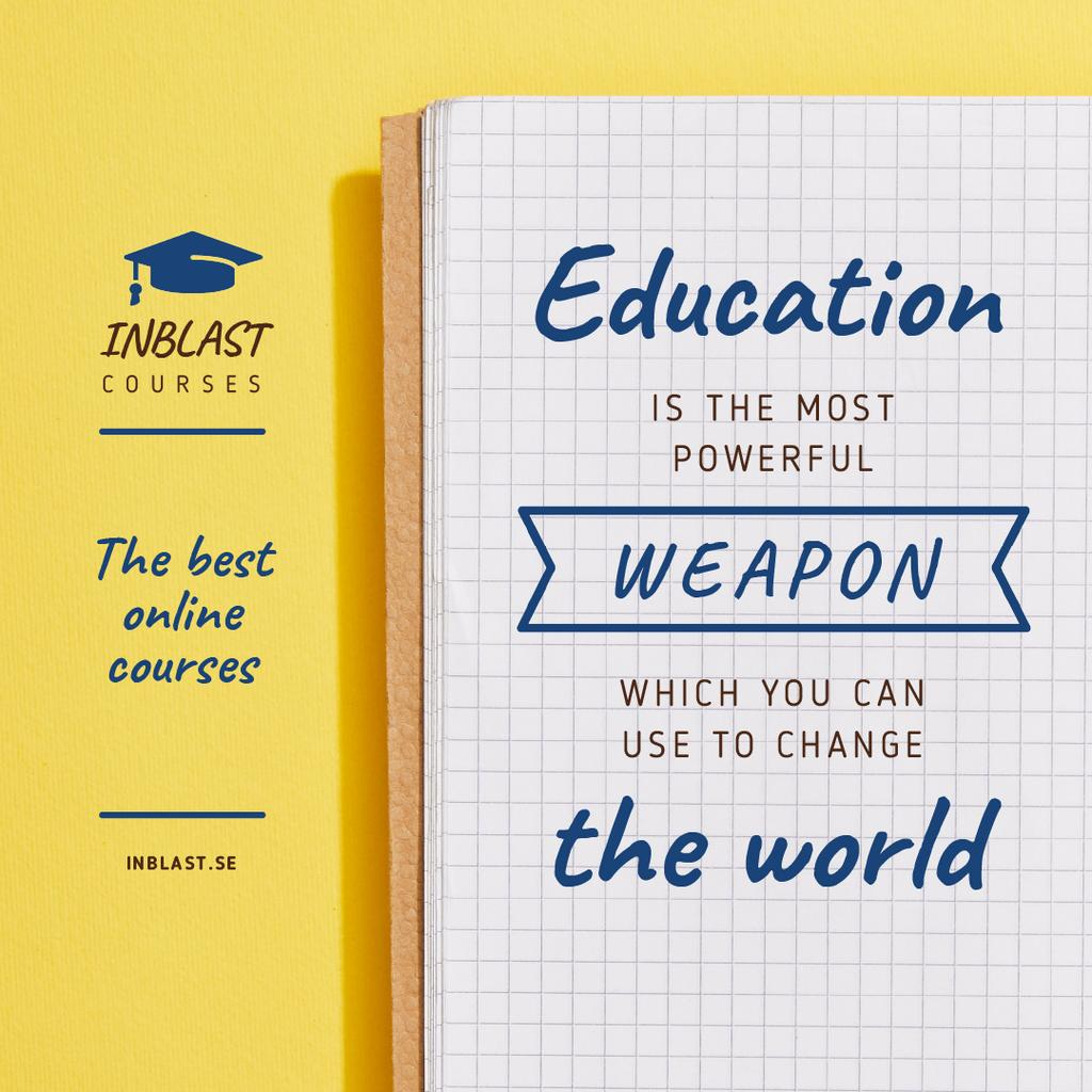 Educational Course Ad with Notebook in Yellow — ein Design erstellen
