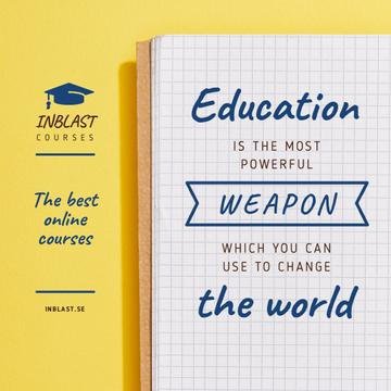 Educational Course Ad with Notebook in Yellow