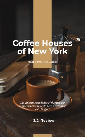 Coffee Houses Guide Cup of Hot Coffee Book Coverデザインテンプレート