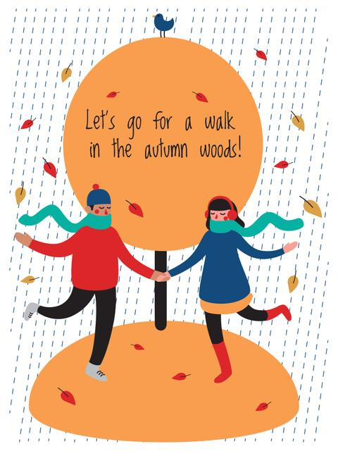 People Dancing Under Falling Autumn Leaves Poster US Modelo de Design
