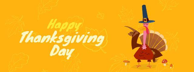 Turkey in Pilgrim hat on Thanksgiving Day Facebook Video cover Tasarım Şablonu