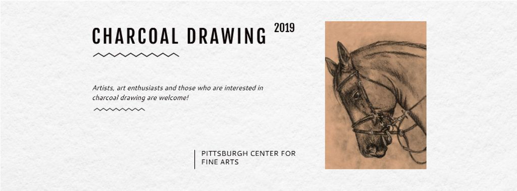 Charcoal Drawing with Horse illustration — Crea un design