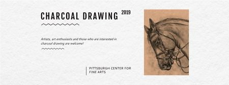Plantilla de diseño de Charcoal Drawing with Horse illustration Facebook cover