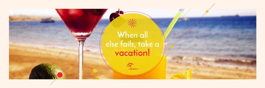 Vacation Offer Cocktail at the Beach | Twitter Header Template — Создать дизайн