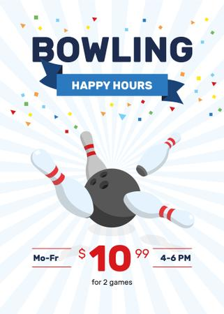 Bowling Club Happy Hours offer Flayer Modelo de Design