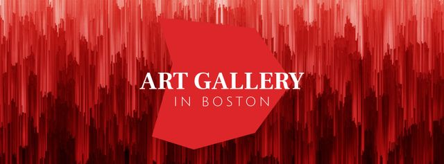 Art gallery promotion on Red digital lines Facebook Video cover Design Template