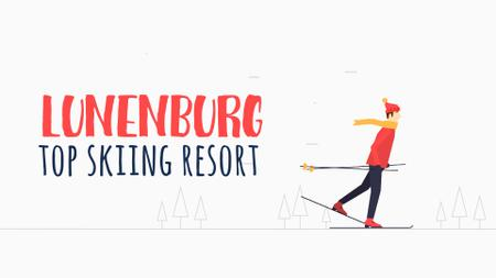 Ontwerpsjabloon van Full HD video van Mountain Resort Ad Skier Riding in White