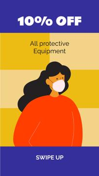 Protective equipment ad with Woman wearing mask