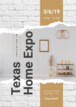 Ontwerpsjabloon van Invitation van Modern interior with golden elements