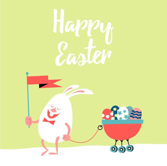 Cartoon Easter bunny with colored eggs Animated Post Tasarım Şablonu