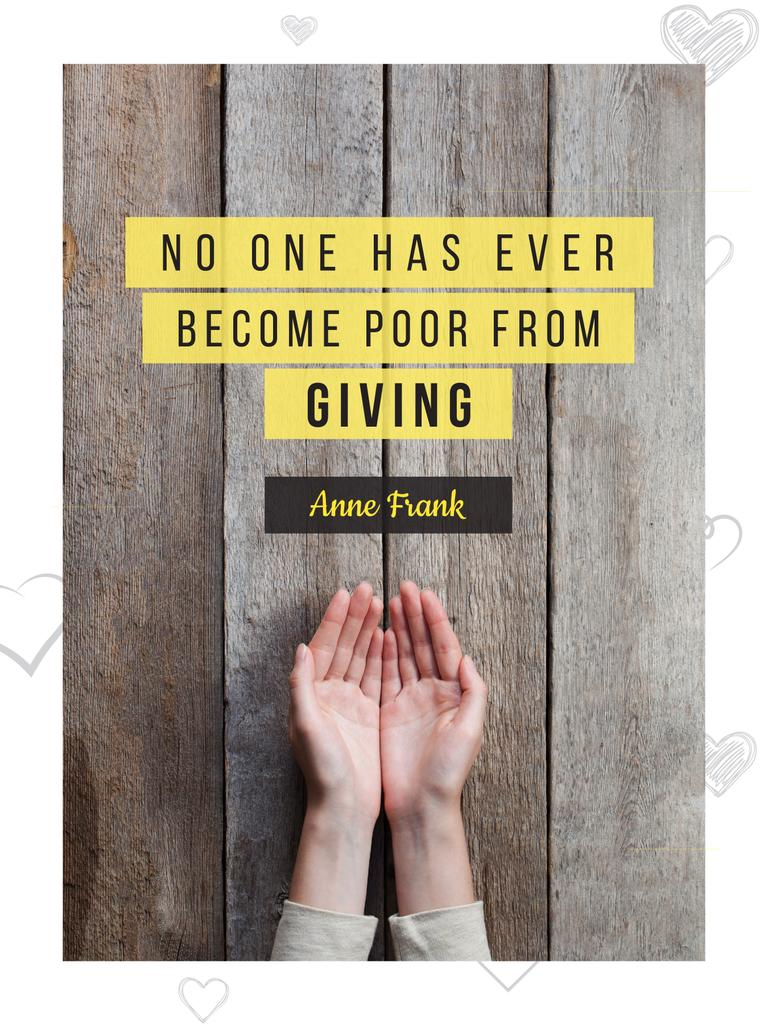 Charity Quote with Open Palms Poster US – шаблон для дизайна