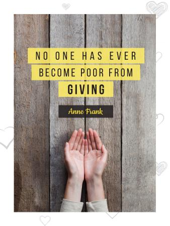 Plantilla de diseño de Charity Quote with Open Palms Poster US