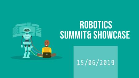 Robotics Summit Man Programming Robot Full HD videoデザインテンプレート