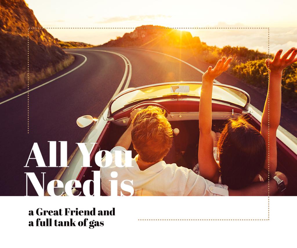 Young couple in convertible car, travel background — Crea un design