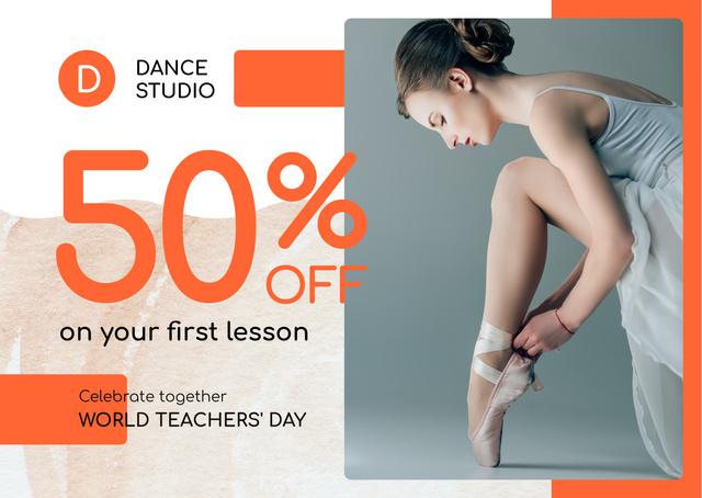 World Teachers' Day Ballet Lessons Sale Cardデザインテンプレート