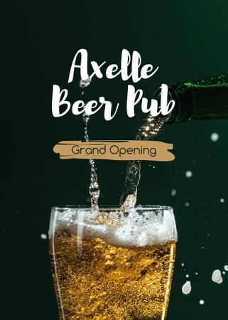 Ontwerpsjabloon van Flayer van Pub Grand Opening Beer Splashing in Glass