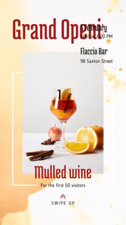 Bar Grand Opening Announcement Glass with Mulled Wine Instagram Story Modelo de Design