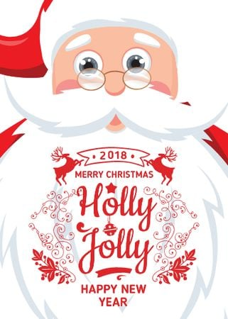 Plantilla de diseño de Holly Jolly Greeting with Santa Claus Flayer